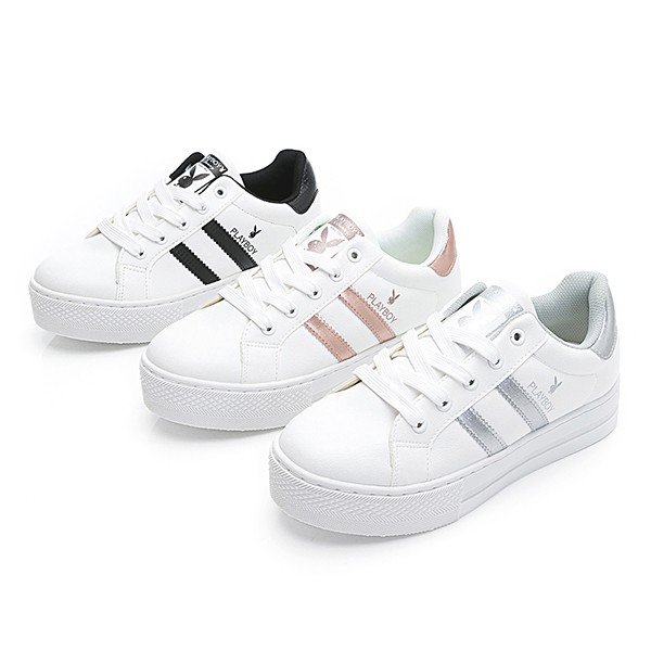 PLAYBOY復刻魅力 彈性厚底小白鞋-白黑/白銀/玫瑰金 (Y6217)