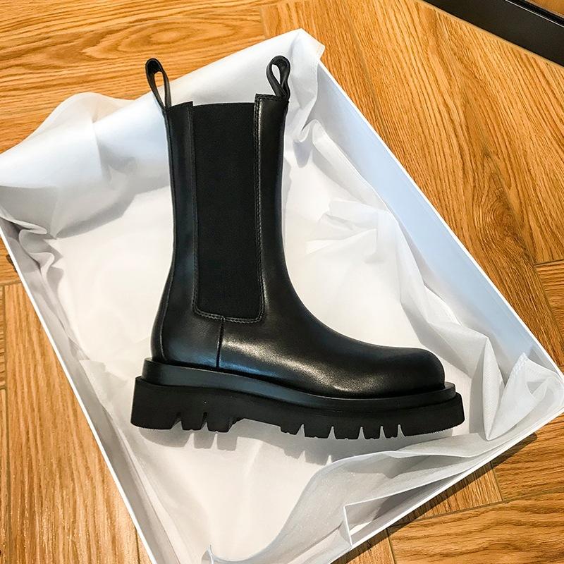 馬丁靴女 2020秋冬新款加絨網紅煙筒英倫風中筒靴 厚底短靴女
