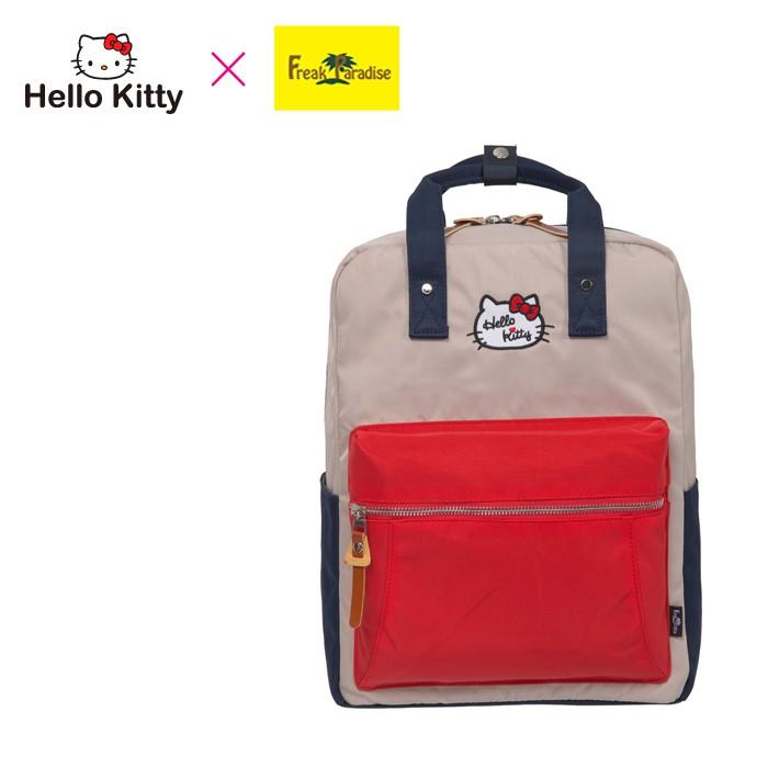 Hello Kitty x Freak Paradise 凱蒂學院-方型後背包-紅藍 FPKT0F001RNG