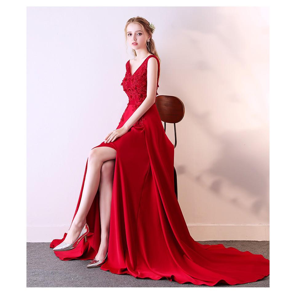敬酒服新娘2018新款顯瘦優雅時尚紅色拖尾結婚婚禮晚禮服裙女夏春 X0528
