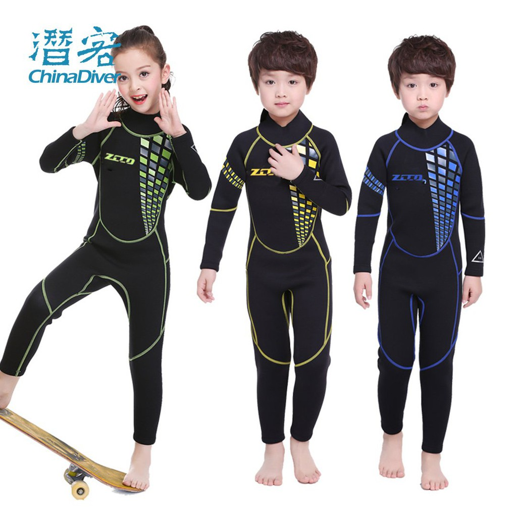 新款#ZCCO 兒童潛水服冬泳泳衣保暖水母服衝浪男女童小孩游泳防寒衣3mm