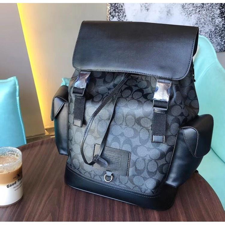 超美實拍 COACH/蔻馳36080 新款男士素面全皮後背包 登山包 旅行包 容量大 可放筆電 抽繩封口背包