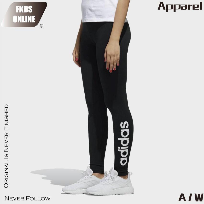 Adidas 愛迪達 休閒 女款 經典書寫 醒目大logo 緊身褲 健身褲 運動褲 內搭褲 DW7958