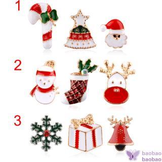BB3 Pcs聖誕胸針別針雪人樹鈴鹿麋鹿胸針Bijoux珠寶