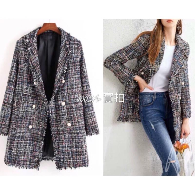 韓國 歐美大牌訂製小香風 100%實拍 合身顯瘦 編織珍珠釦 翻領針織長版西裝外套