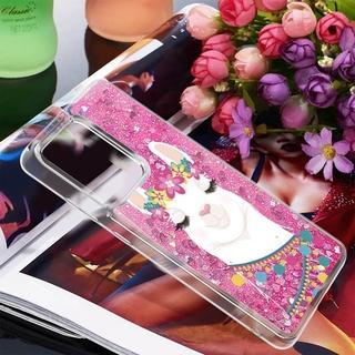 三星 Galaxy S20 超閃光矽膠軟 Tpu 手機殼的獨特流沙液體保護套,  適用於三星 S20 後蓋 Caso