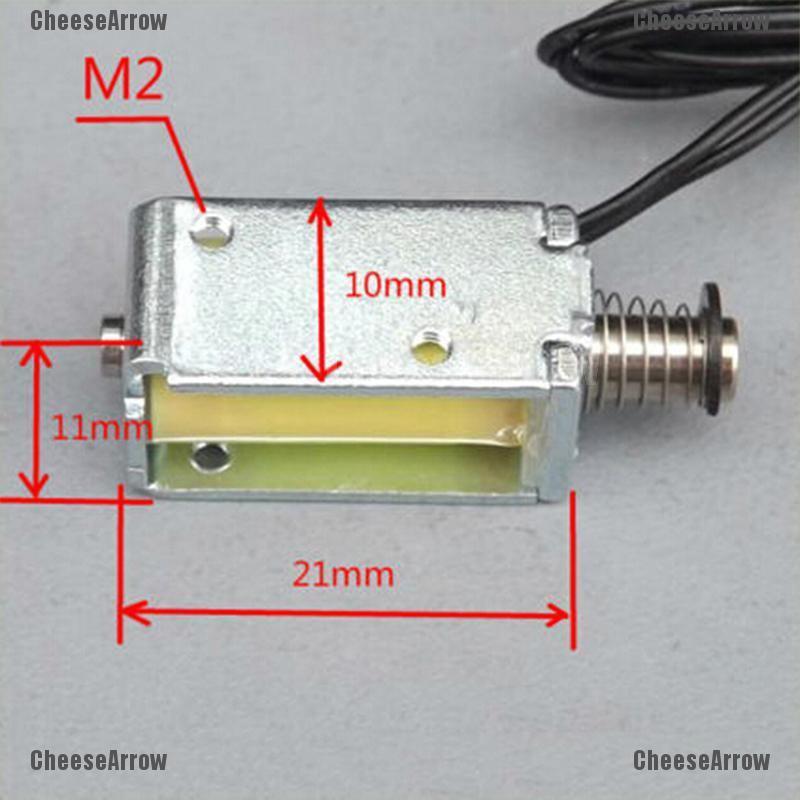 「」12V DC吸力微型電磁鐵彈簧推拉式棒狀電磁鐵4mm♡CAMY