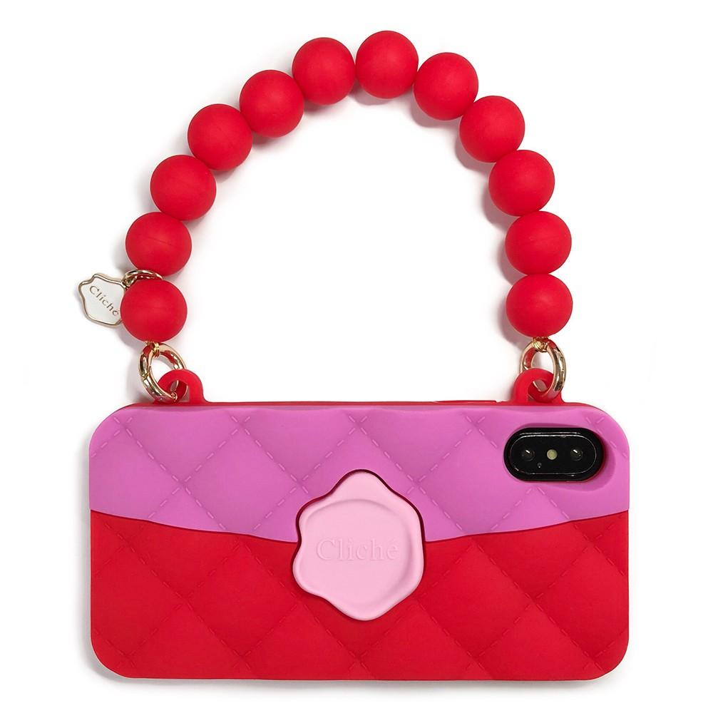 【Candies】經典雙色珠鍊晚宴包(紅)-IPhone X/XS