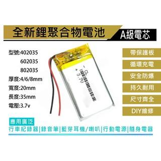 買五送一 台灣現貨 802035 3.7v 鋰聚合物電池 厚8寬20長35mm 容量500mAh 充電式鋰電池 臺南市