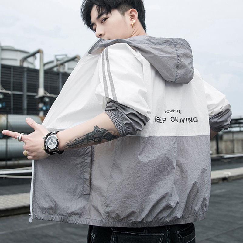 機能防護夾克 機能防護外套 防曬衣男2021夏季新款時尚冰絲防曬服男士外套潮流薄款透氣皮膚衣