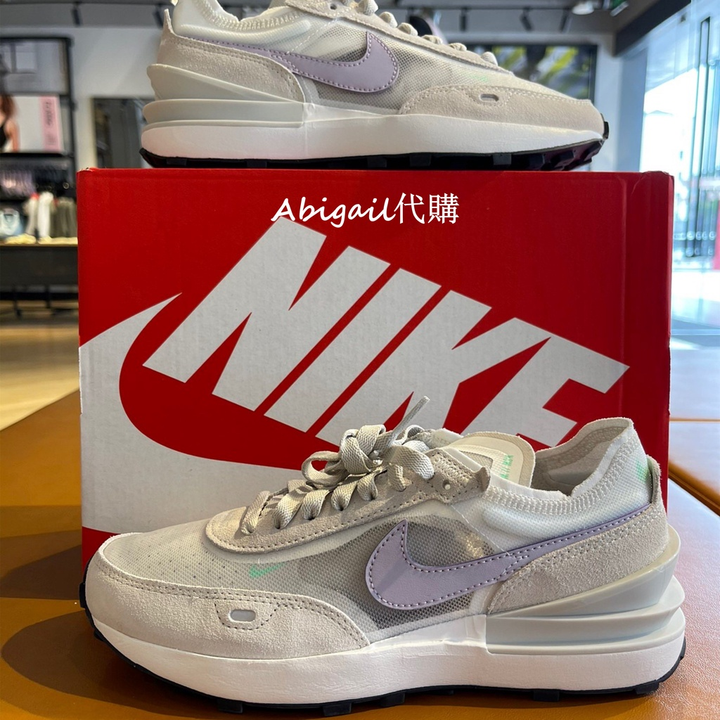 Nike Waffle One 聯名款運動鞋 小saca解構休閒鞋 米白灰 米白紫慢跑鞋 網面女鞋 DA7995-101