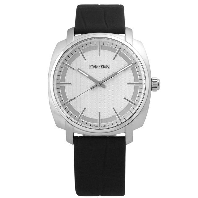 CK Highline 平行系列金宇彬代言款皮革腕錶 銀x黑 K5M311C6 39mm 廠商直送 現貨