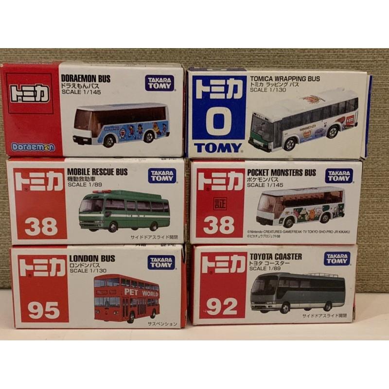 絕版全新珍藏 TOMICA 巴士系列No.0,38,72,92,95,,118,多啦A夢