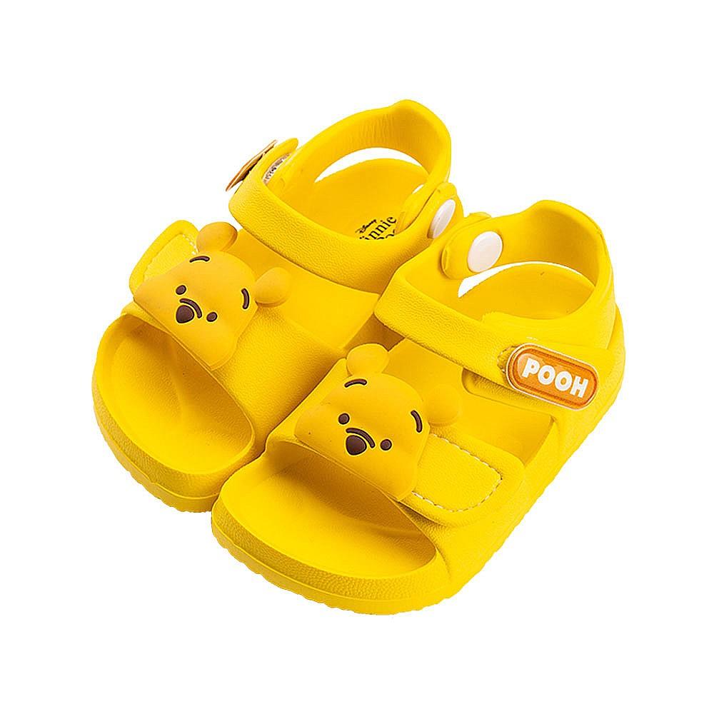 迪士尼童鞋 小熊維尼 防水造型涼鞋-黃