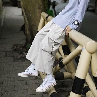 夏季寬松工裝褲男日系寬松百搭休閑褲八分褲港風個性時尚闊腿褲子七分褲 7分褲 短褲 男中褲 丹寧 休閒褲