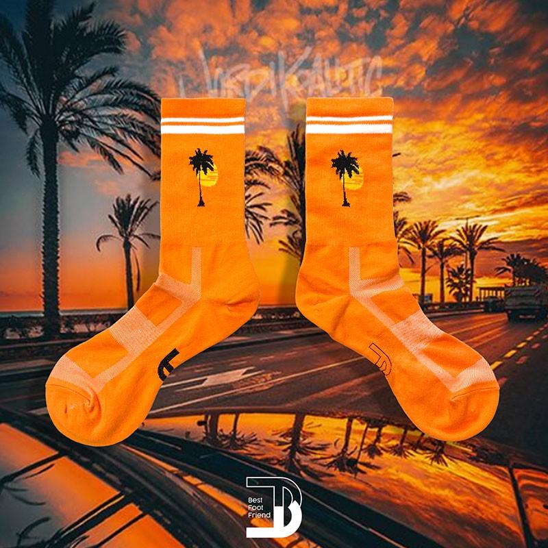 BEST FOOT FRIEND - BF200026-20 加州椰子樹 中筒襪 / 小腿襪 (橙色) 化學原宿