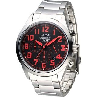 【ALBA雅柏】手錶 AT3533X1 個性潮流三眼碼錶計時男錶-紅刻_保固二年,超值搶購 新北市