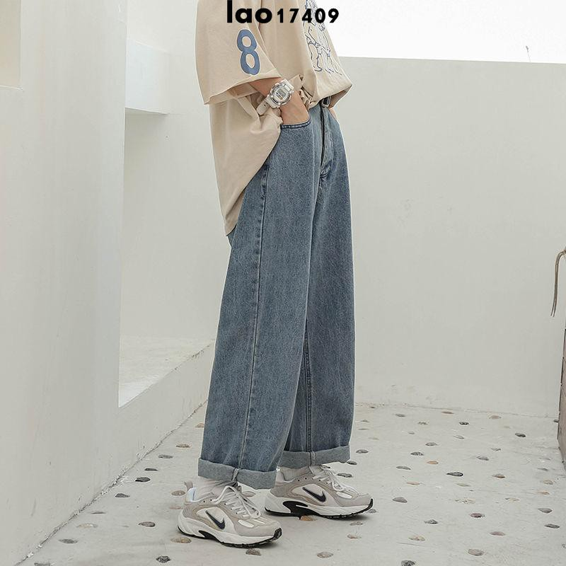 牛仔休閒褲 女褲2021新款潮韓版高腰學生直筒老爹寬松闊腿牛仔褲子女小個子