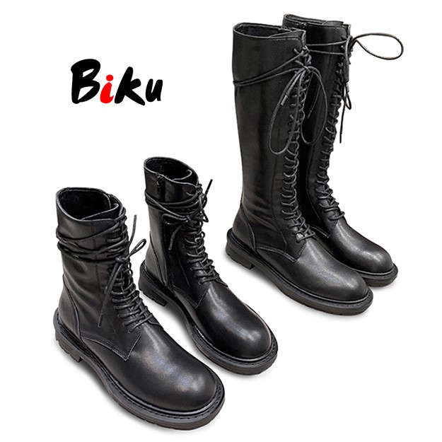 秋品英倫風 顯瘦側拉鍊綁帶中筒/高筒馬靴 馬丁靴 長靴-BIKU/B酷