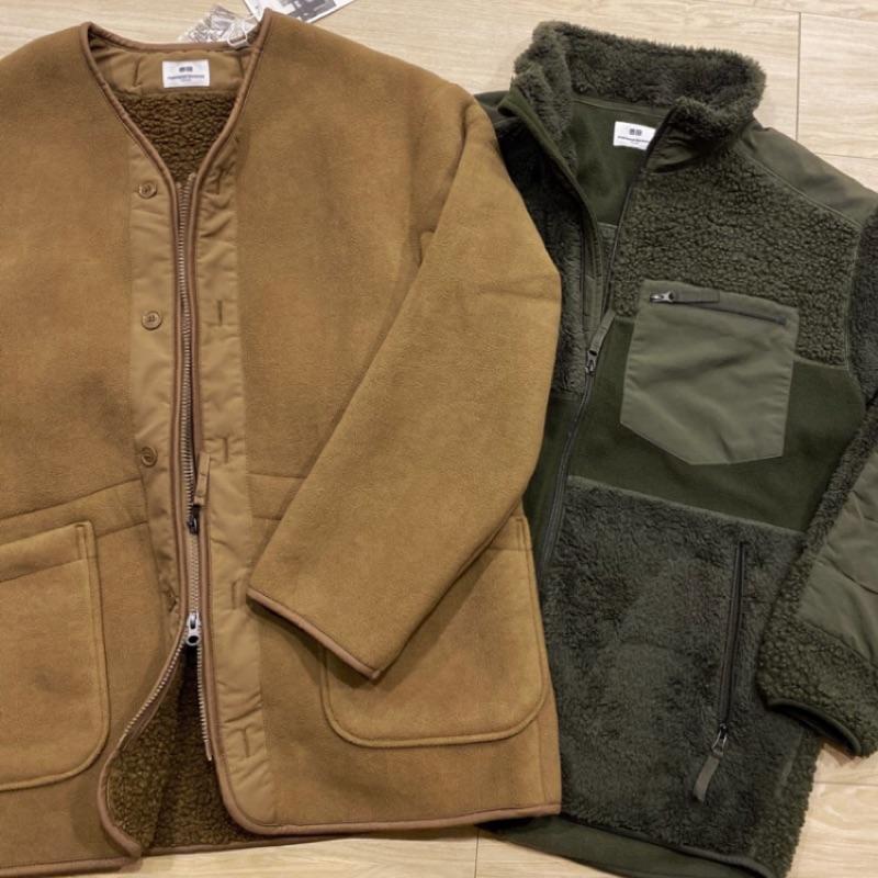 Uniqlo x Engineered Garments 刷毛無領外套卡其 S號
