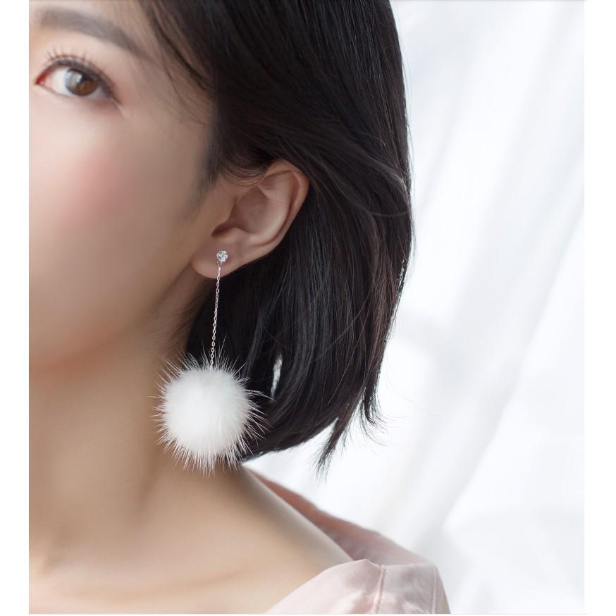日系S925純銀小毛球簡約少女心ins萌萌溫暖質感時尚氣質禮物毛球耳環