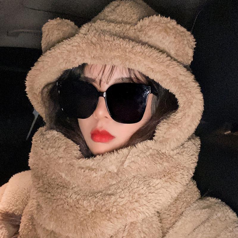 現貨 jennie同款小熊帽子女冬季韓版百搭毛絨圍巾連帽一體可愛耳朵保暖