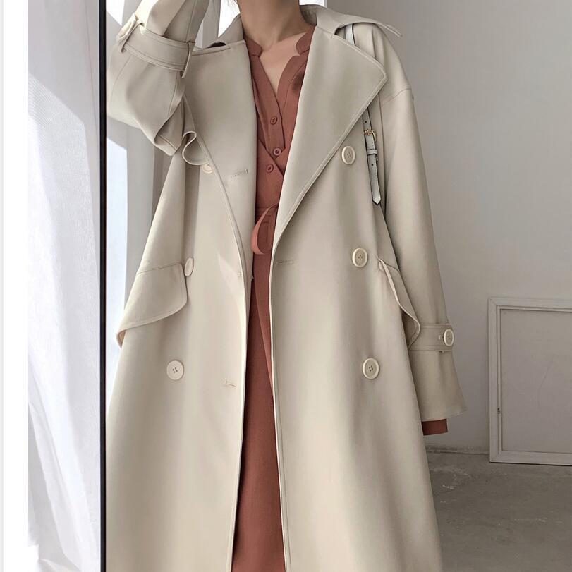 風衣 風衣外套 長款外套 大衣 風衣女中長款秋冬新款寬鬆過膝英倫風流行氣質小個子大衣外套
