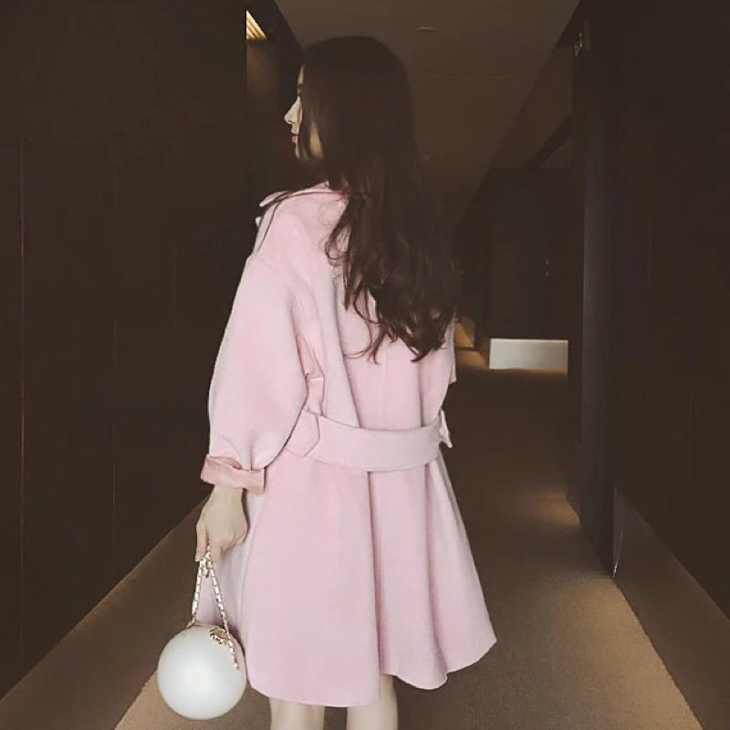 韓國 粉嫩氣質毛呢中長款大衣