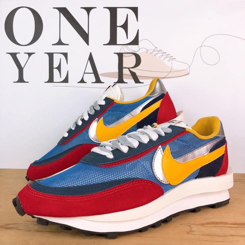 ONE YEAR_ Sacai x Nike LDV Waffle 聯名 解构 網面 透氣 紅 藍 BV0073-400