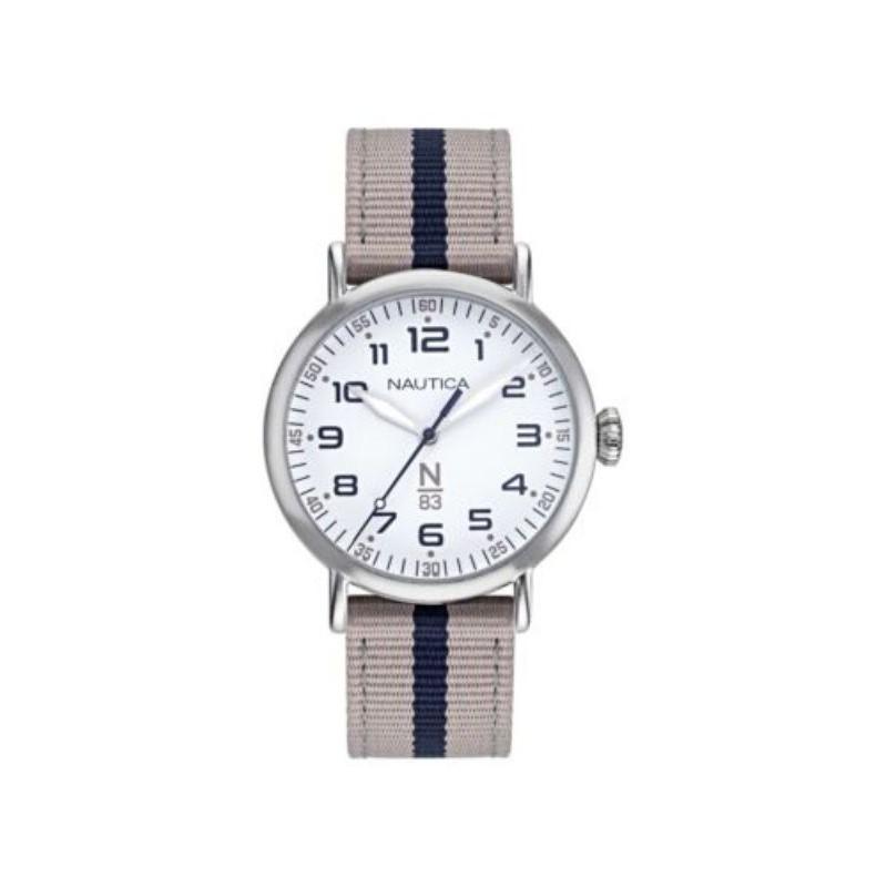 Nautica 中性手錶 NAPWLF921 Wakeland 40mm 銀色錶盤 N83 皮革手錶