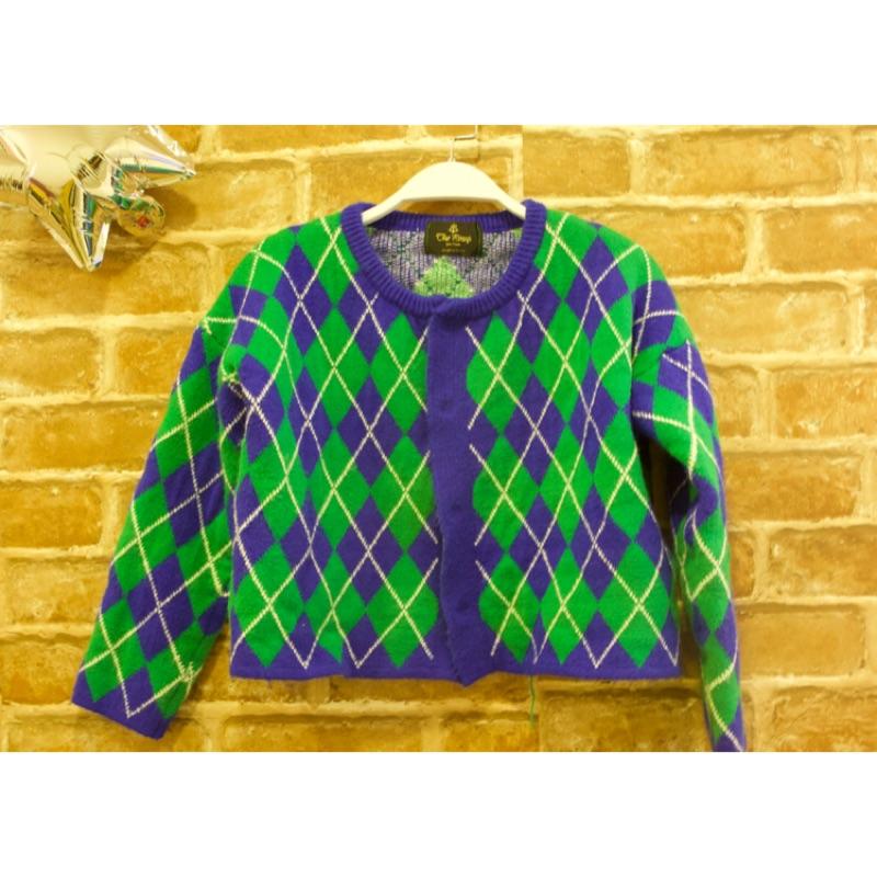 ✔️現貨 菱格藍綠撞色短版針織外套