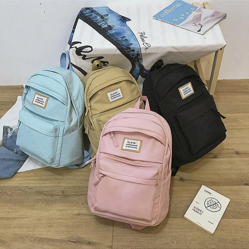 四色可選大容量學生雙肩包 多夾層高中生帆布書包 正韓糖果色小清新女生後背包 戶外運動旅行背包 交換禮物