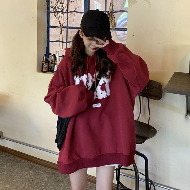 [嬌戀主角]韓版寬鬆顯瘦帽t 刷毛加厚 長袖學生上衣衛衣情侶裝閨蜜裝班