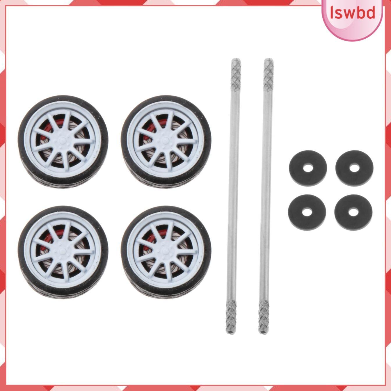 4件11毫米輪轂輪輞和橡膠輪胎套裝,適用於1:64型號改裝汽車