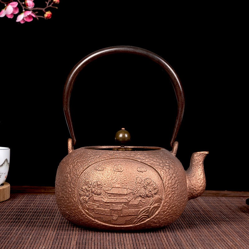 華威禮業大容量鑄銅壺煮茶壺 手工原色紫銅壺功夫茶具銅器泡茶壺