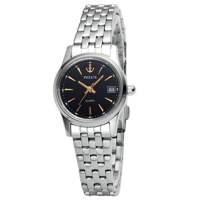 台灣品牌手錶腕錶【TELUX鐵力士】見證系列女腕錶手錶21MM台灣製造石英錶7775W-BK12鋼帶黑面金釘另有男款