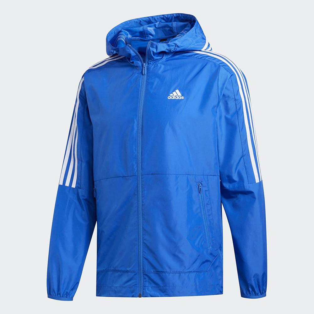 ADIDAS 3-STRIPES 男裝 外套 連帽 休閒 慢跑 風衣 輕量 拉鍊口袋 藍【運動世界】FT2834