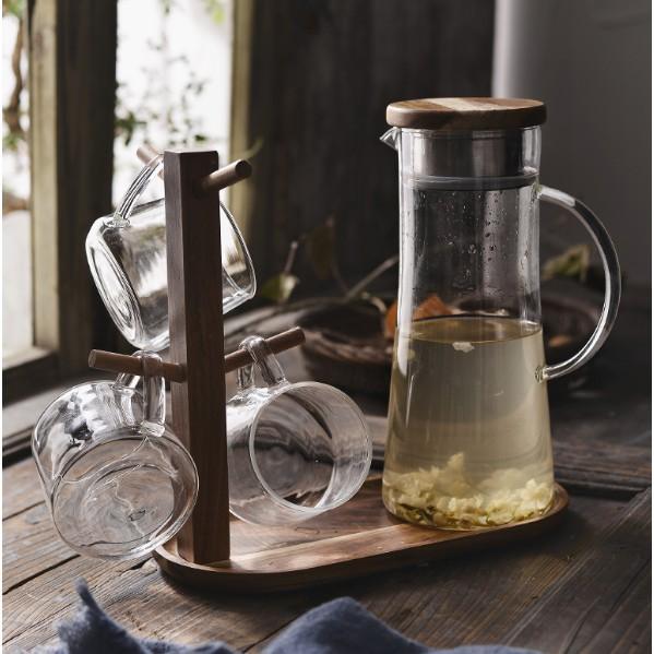 莫妮卡之家❤涼水壺 杯 玻璃冷水壺套裝紮壺果汁開水大容量耐高溫耐熱防爆