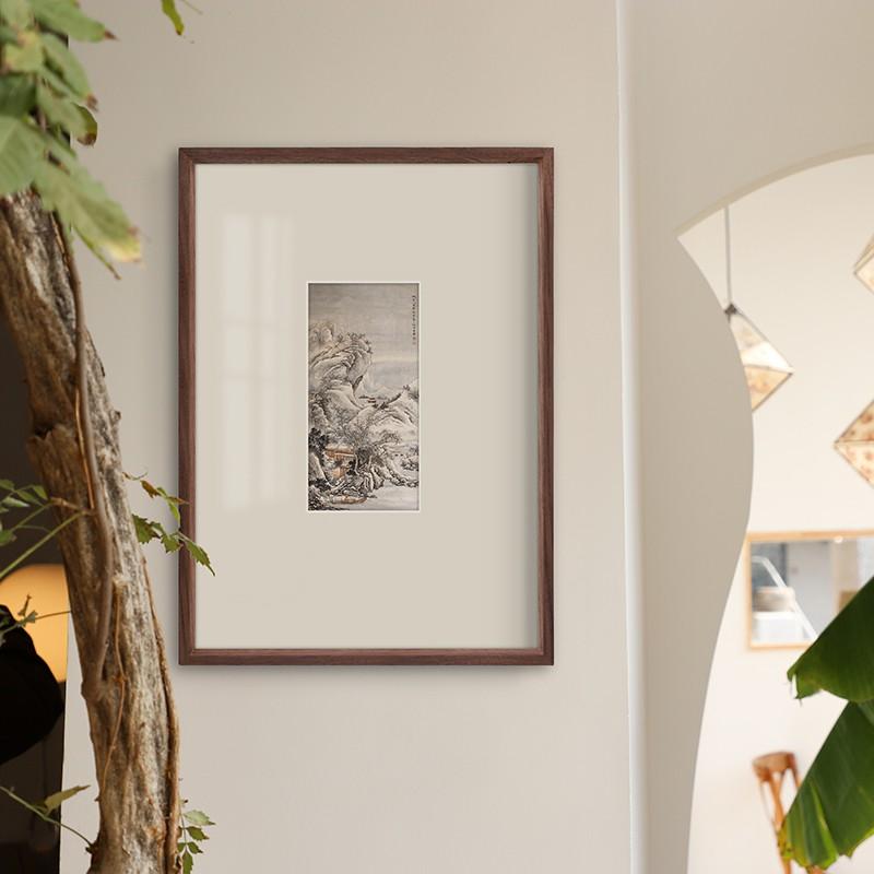 簡約相框 美式榫卯相框定做掛墻裝飾畫框裝裱定制任意尺寸本色黑胡桃實木質 木質相框