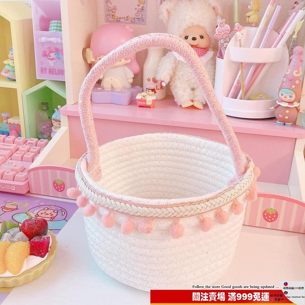 新品推薦 ins棉麻桌面球球花筐收納盒整理筐可愛日式簡約小清新針織收納盒