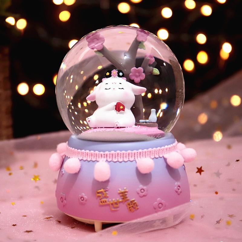 (uli)復古宮廷風御園兔兔水晶球飄雪花創意流蘇八音盒送同學生日禮物