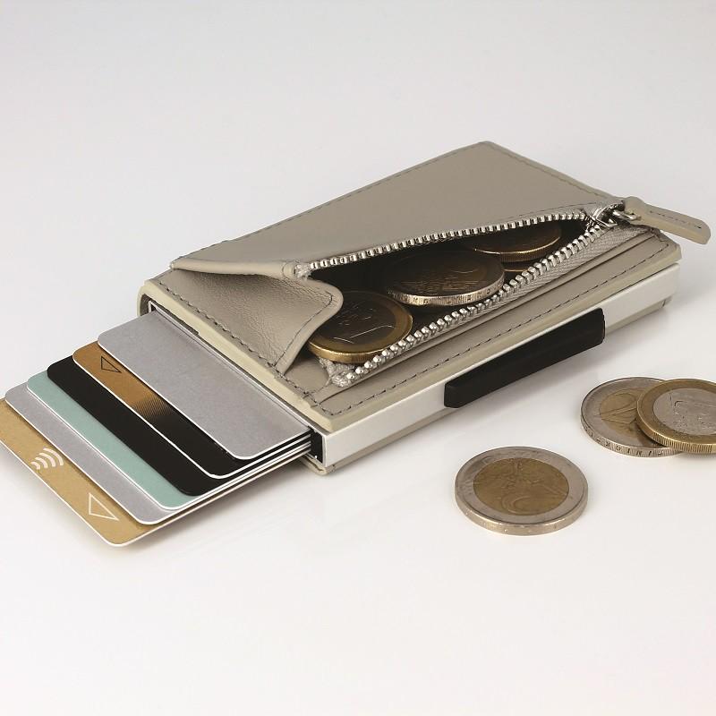 法國 Ogon Designs-Cascade Zipper Wallet RFID 安全防盜真皮拉鍊三摺錢包-太空銀