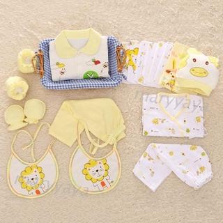 Mary 18件新生儿婴儿棉制衣服套装长裤+背带裤+帽子+手套+脚套衣服