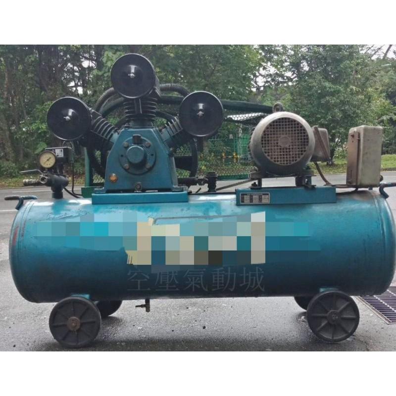 《空壓氣動城》往復有油皮帶式空壓機 5HP/附馬達三相220V/60HZ(二手中古機) 含稅價(限平面處)