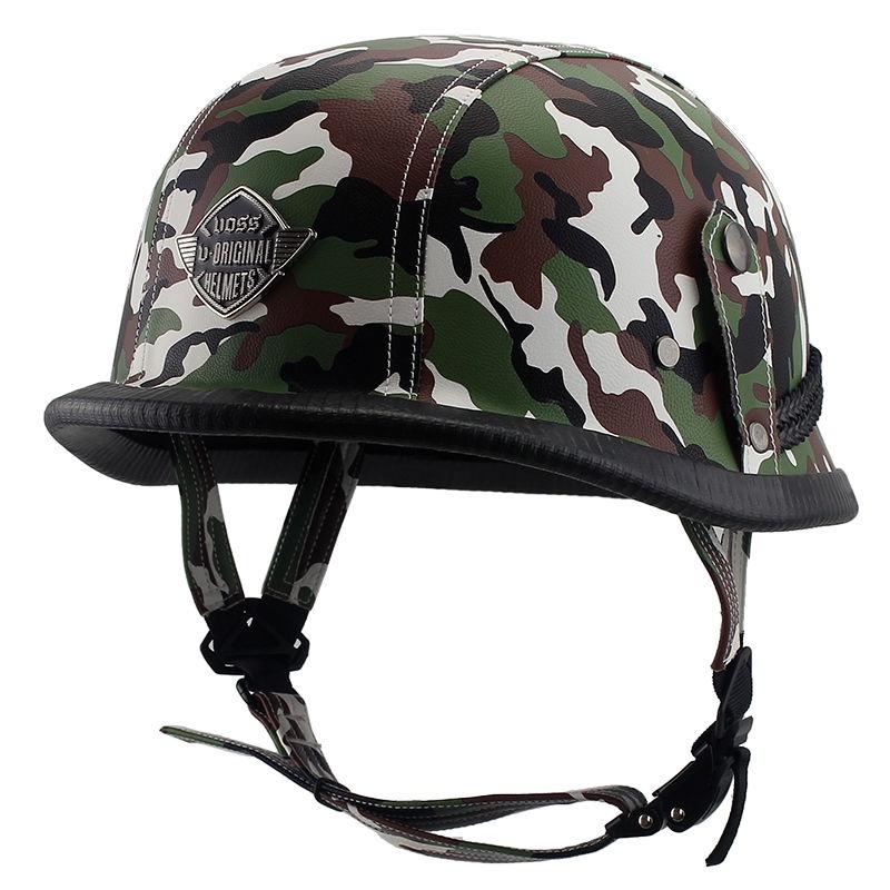 嘻哈安全帽┅♈VOSS哈雷電動車頭盔男復古哈雷頭盔半盔個性德式皮盔電瓶車頭盔