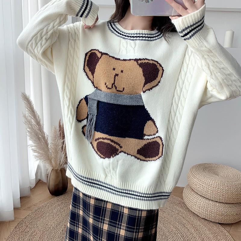 日系慵懒风宽松减龄小熊毛衣女生套头针织上衣女