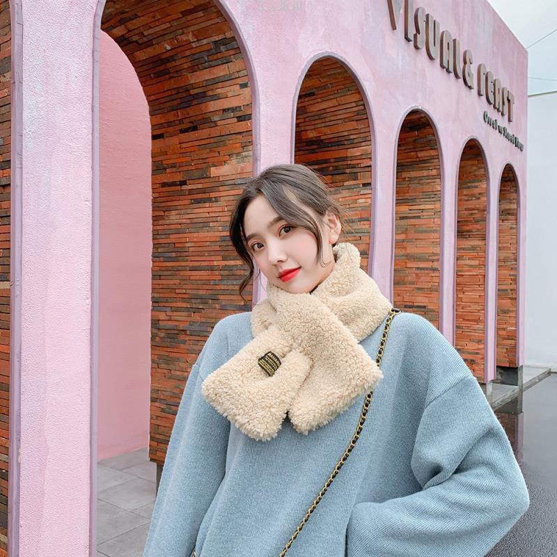 韓版羊羔毛交叉圍巾女絨可愛毛茸茸少女脖套網紅冬季毛絨圍脖日。350825