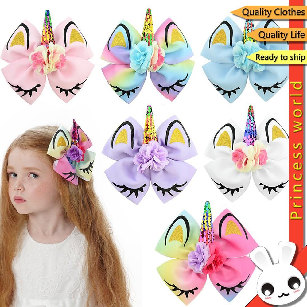 兒童髮飾獨角獸女孩花飾髮夾兒童女孩時尚蝴蝶結可愛兒童髮夾配件