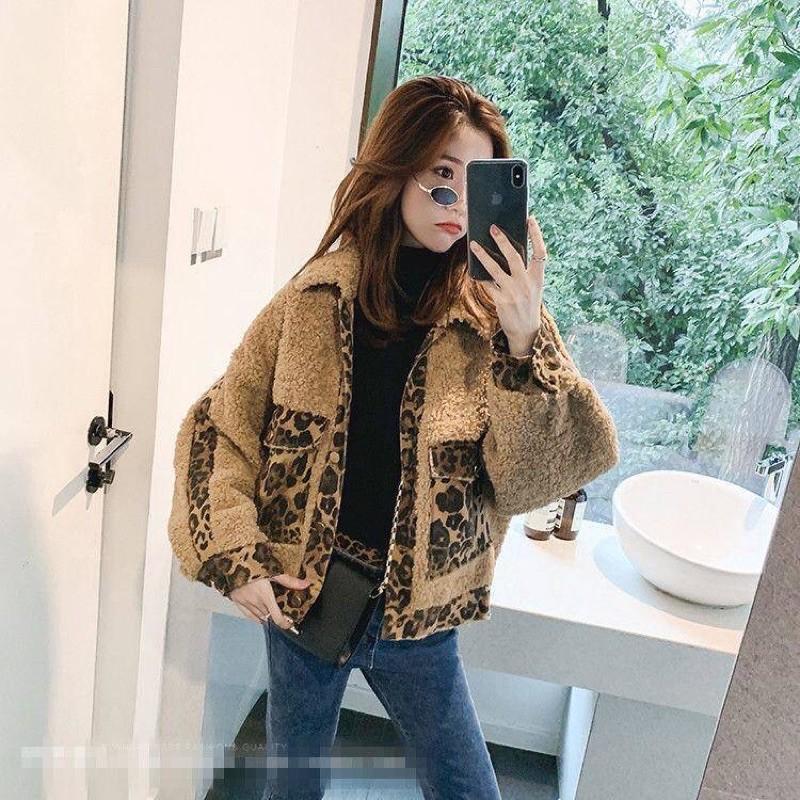 秋冬女装韩版宽松仿羊羔毛外套学生保暖豹纹拼接牛仔短款加厚夹克