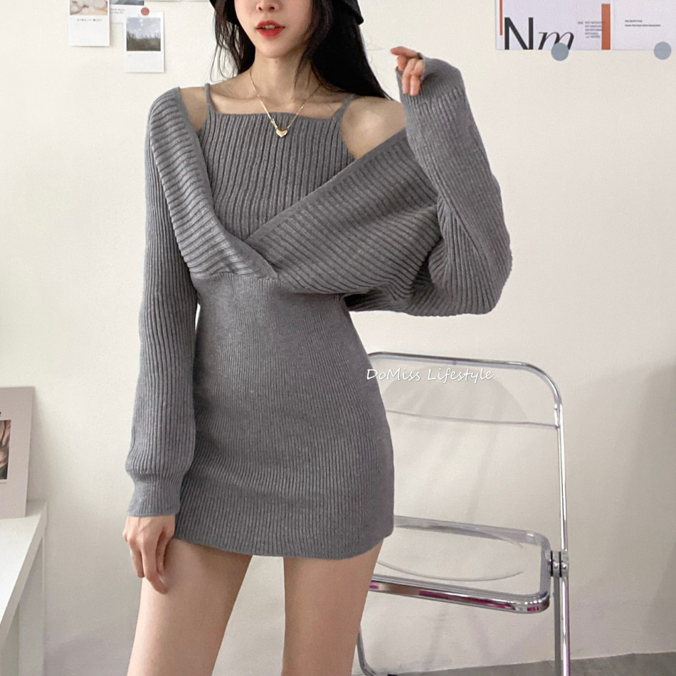 DoMiss性感假兩件柔軟針織洋裝-4色 毛衣裙(現貨)